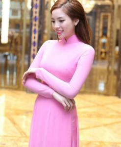 brilliant pink silk ao dai