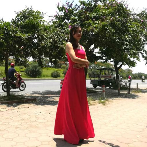 cadminum red ao dai vietnam
