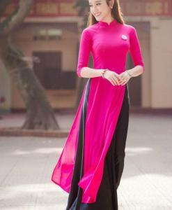 ao dai designs deep pink