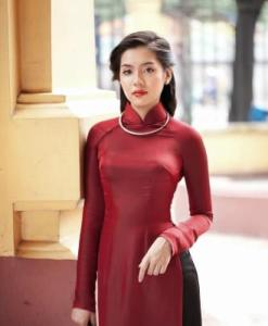 Brick Red And Black Ao Dai Vietnam
