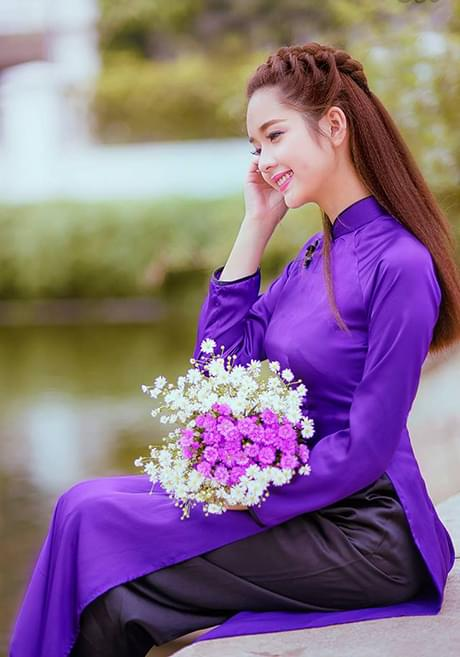 Blue Violet Vietnam Ao Dai Hien Thao