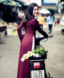 Maroon-Silk-Ao-Dai-And-White-Satin-Trouser