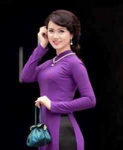 Regal Purple Silk Satin Ao Dai Vietnam