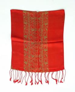 Red Yellow Double Layer Silkworm Women Scarf
