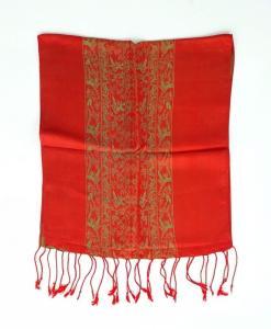 Red Yellow Double Layer SilkwormWomen Scarf
