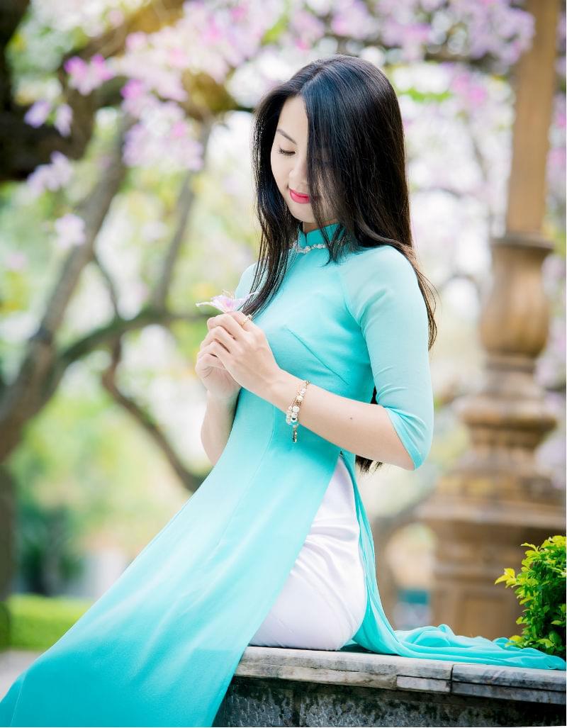 Ao Dai Vietnam Custom Tailors Sky Blue, White Pant
