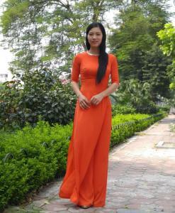 pumpkin-chiffon-ao-dai-vietnam-modern-design-long-lap