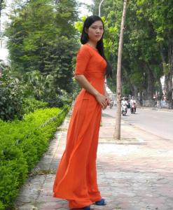 pumpkin-chiffon-ao-dai-vietnam-modern-design-short-sleeves