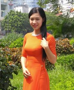 Pumpkin Chiffon Ao Dai Vietnam Modern Design