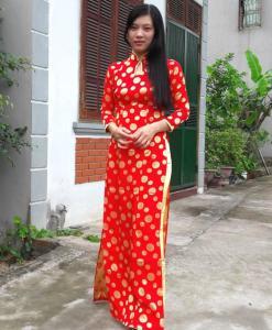 brocade-ao-dai-vietnam-red-yellow-polka
