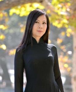 Vietnam Ao Dai Black Sheer White Pant Double Layers