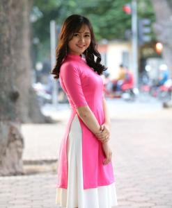 Ao Dai Cach Tan Pink Silk 2