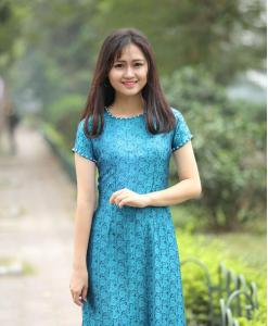 Ao Dai Vietnam Silkworm Ice Blue