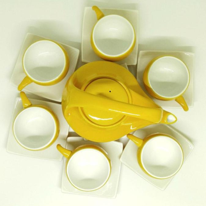 Bat Trang Handmade Tea Set Yellow White Plain Glaze 3