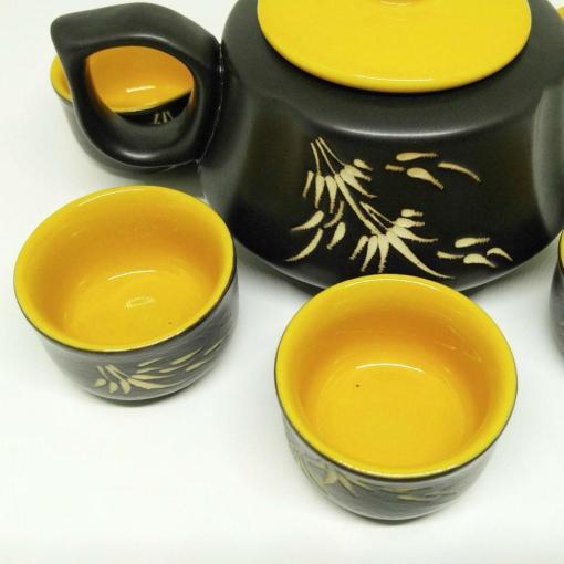 Bat Trang Pottery Tea Set Yellow 2