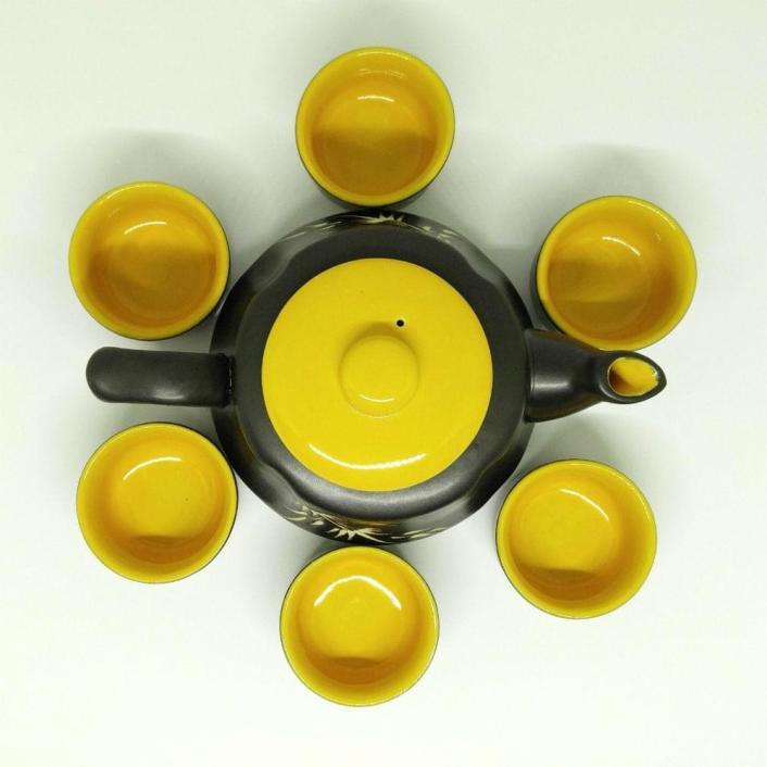 Bat Trang Pottery Tea Set Yellow 3