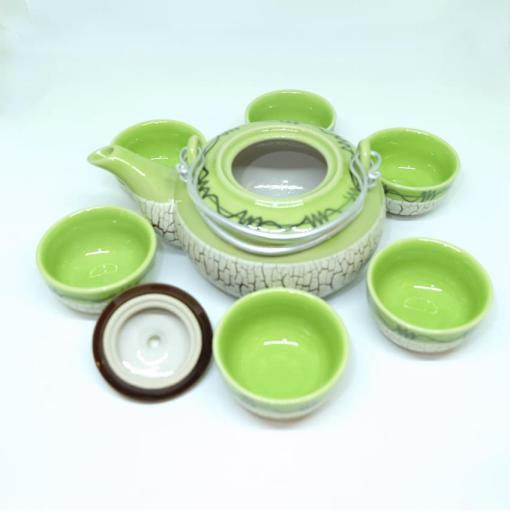 Bat Trang Round Tea Set Pottery Green 3