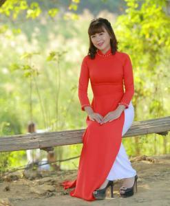 Red Ao Dai Vietnam 3/4 Sleeves 2