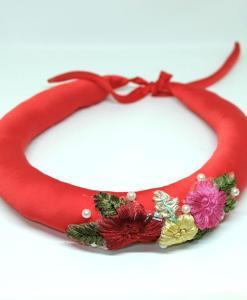 Red Women Head Scarf Traditional Vietnam Pinner