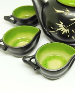 Vietnam Handmade Tea Set Bat Trang Leaf Green Glaze 3