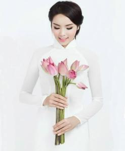 White Ao Dai Vietnam Double Layers 2