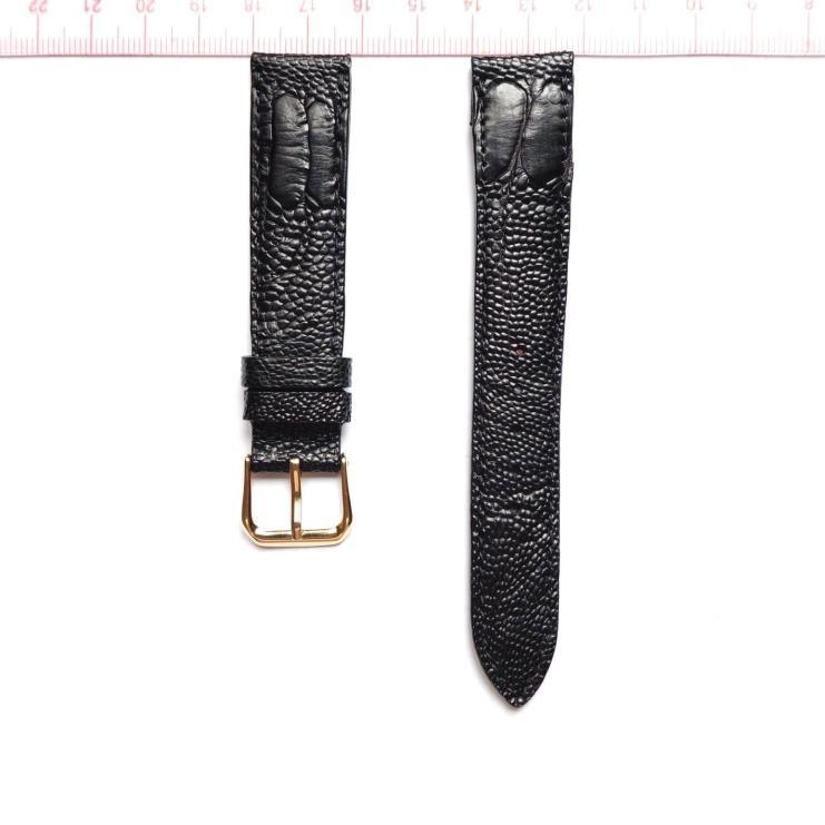 Black Ostrich Leather Wristwatch Strap Size 18mm
