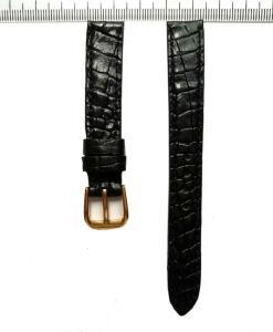 Crocodile Wrist Watch Strap Black Alligator 14mm