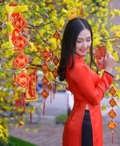 Orange Red Ao Dai Vietnam Custom Made 2