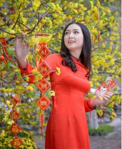 Orange Red Ao Dai Vietnam Custom Made