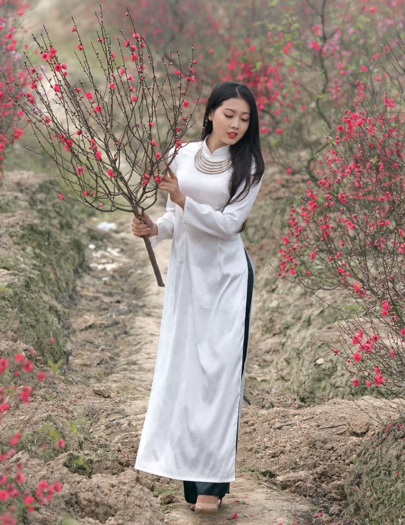 Vietnam Ao Dai Thai Tuan White Brocade Black Silk