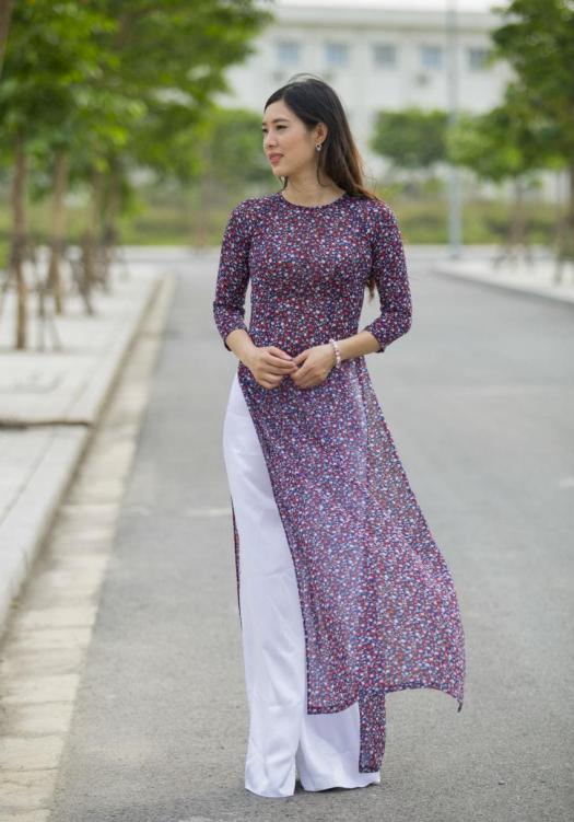 New Collection 2018 Ao Dai Small Floral Pattern