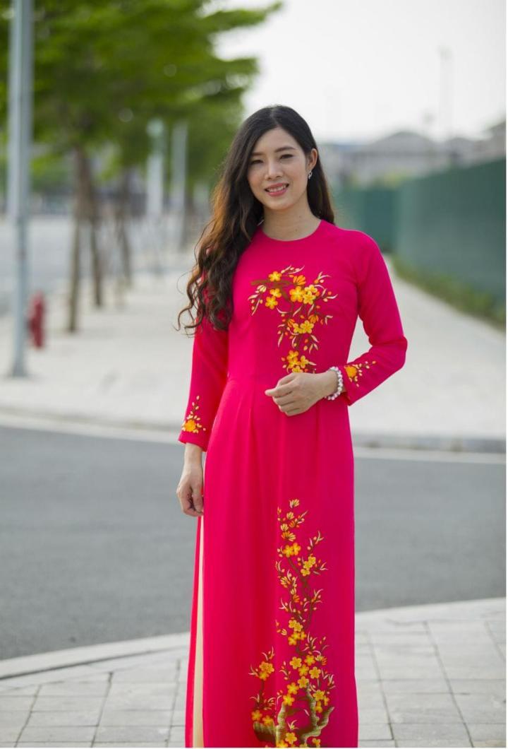 Red Embroidery Ao Dai Custom Made 2