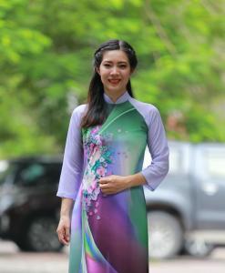Mixed Color Printed Ao Dai Vietnam