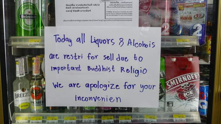 Visakha Bucha: geen alcohol te koop komende zaterdag