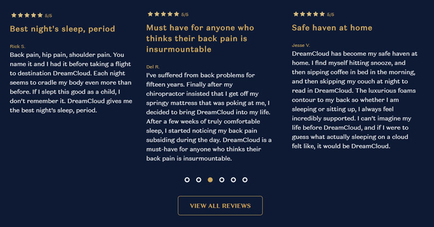 DreamCloud Backpain Reviews