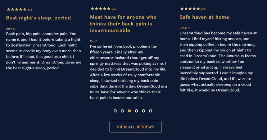 DreamCloud Backpain Reviews