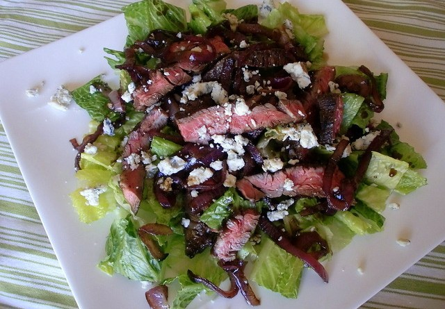 Balsamic Herb Steak and Red Onion Salad | High Country Olive Oil