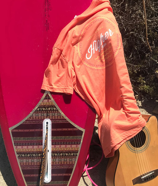 Higher Tides Orange Tee with Surfboard