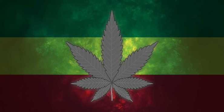 Marijuana leaf on Rasta flag