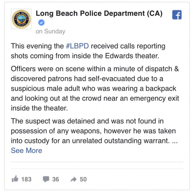 Statement from Long beach PD
