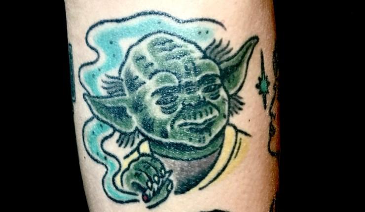Yoda tattoo by Carole Nelan