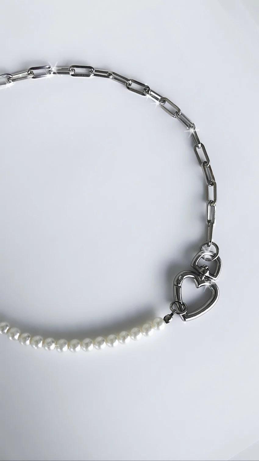 Colar Pearl Heart Silver