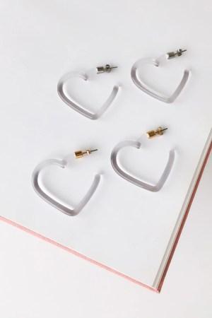 Brinco Crystal Heart Gold