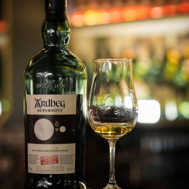 A rare bottle of Ardbeg Supernova enjoyed at The Writinghellip