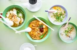 Prawn Noodles, Laksa, Porridge (v.l.n.r.)