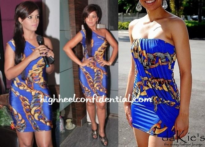 Neetu Chandra Apartment Film Bash Chain Dress