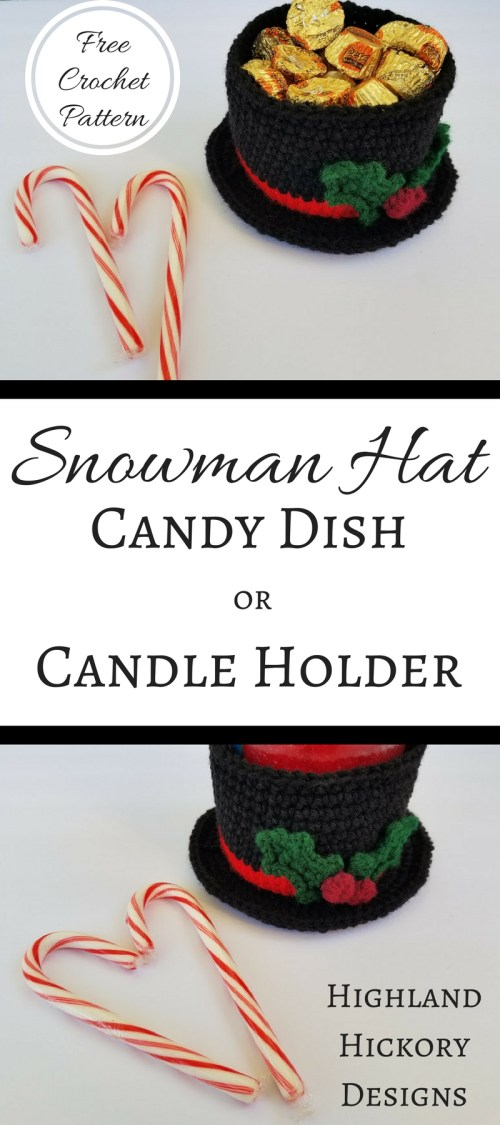 Snowman Hat Candy Dish Or Candle Holder Highland Hickory Designs