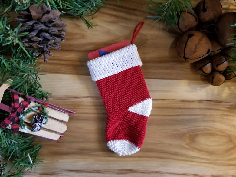 stocking ornament gift card holder