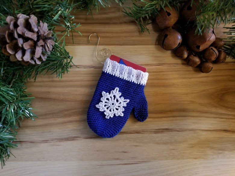 mitten ornament gift card holder