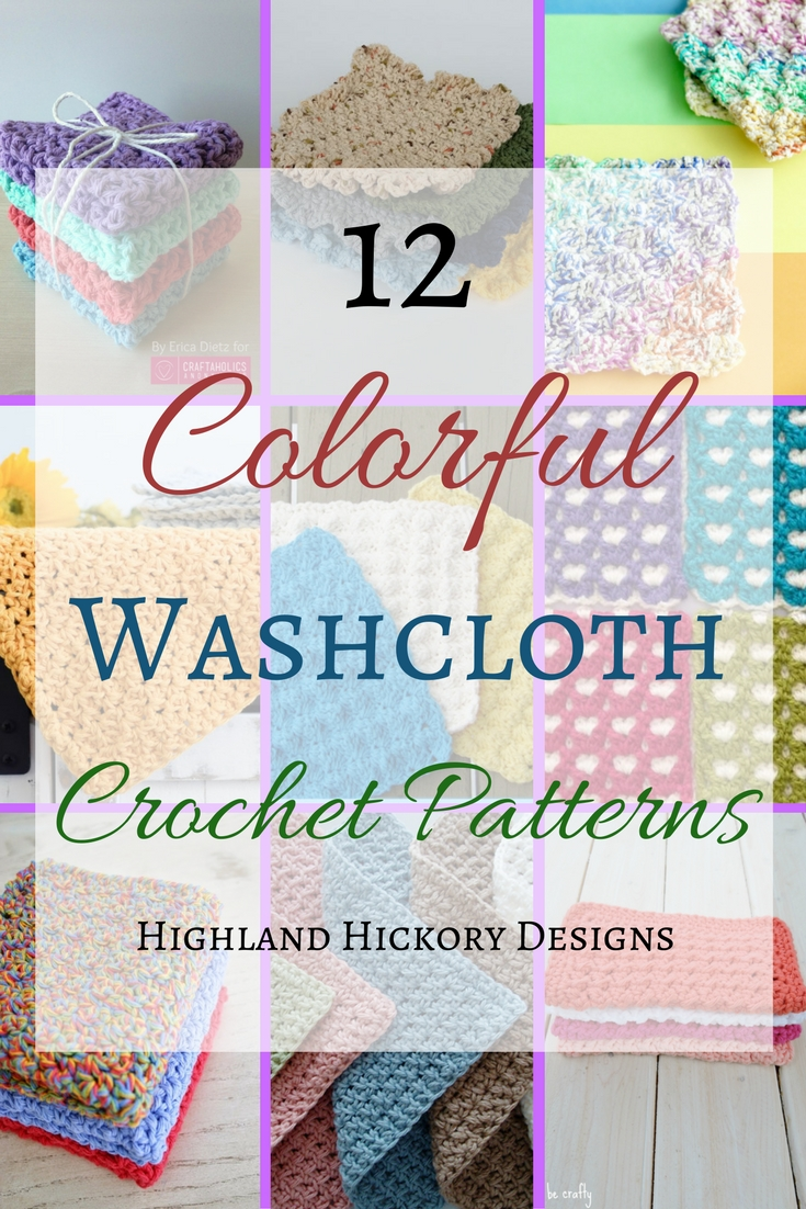 12 Colorful and completely free crochet washcloth patterns for your kitchen or bath. They also make great gifts! Excellent roundup for beginners and experts. #roundup #washcloth #crochet #freecrochetpattern